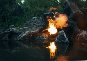 Disney's Animal Kingdom Discovery Riverboats Dragon Rocks Flames