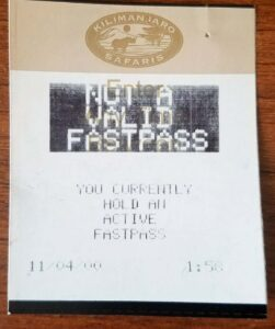 Not a Valid FastPass - Safari - 2000